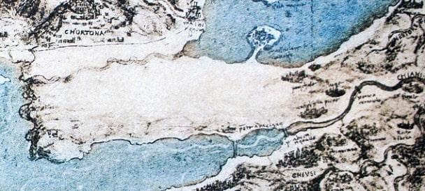 Leonardo Da Vinci'nin Adana'yı işaretlediği bir harita çizimi
