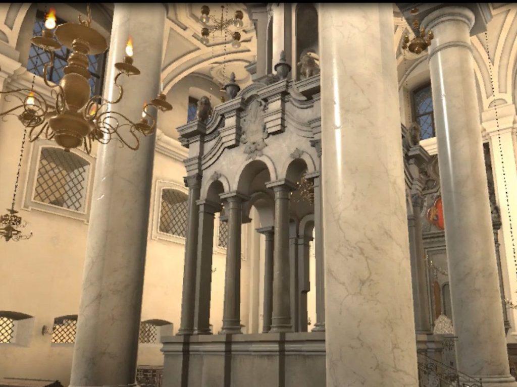 Vilnius Büyük Sinagogu'ndaki podyumun görüntüsü