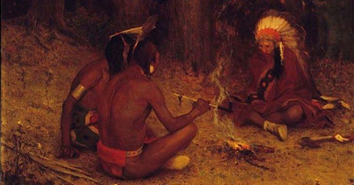 Kızılderililerde tütün içme töreni